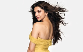 looking back, simple background, sensual gaze, bare shoulders, Deepika Padukone, model