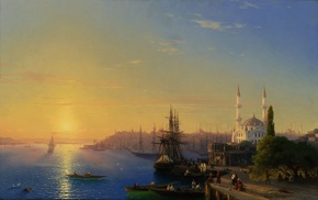 landscape, people, sea, sky, painting