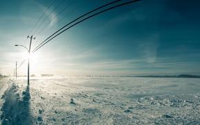 небо, снег, зима, солнечный свет