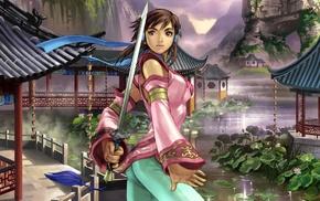 девушка, произведение искусства, меч