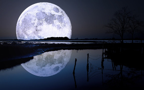 reflection, nature, river, light, moon