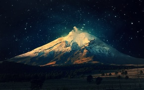night, landscape, mountain