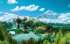 горы, озеро, девушка, лес, небо, природа