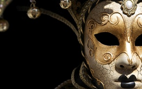 bell, venetian masks, black background