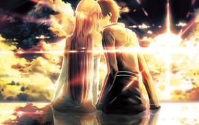 девушки из аниме, аниме, Kirigaya Kazuto, поцелуи, Юки Асуна