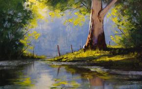stunner, shadow, tree, light, painting