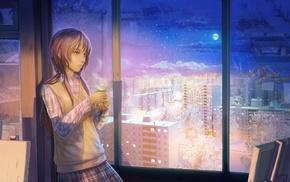 snow, winter, ArseniXC, original characters, night, school uniform