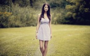 платье, девушка, девушки на открытом воздухе, брюнетка, длинные волосы