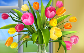 3D, flowers, bouquet, spring, window