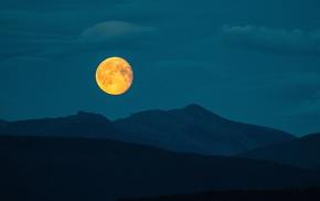 night, moon, mountain