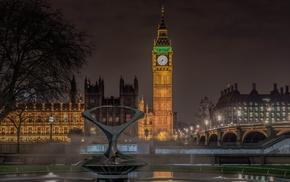 light, cities, England, building, bridge