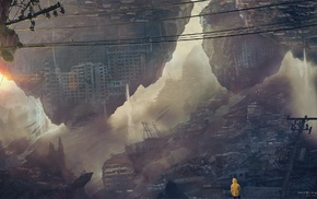artwork, anime, Kuldar Leement, cityscape, morning, apocalyptic