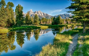lake, sky, mountain, forest, nature