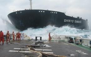 ships, wave, people, sky, storm