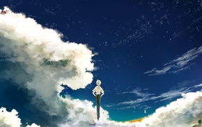 Kaworu Nagisa, landscape, clouds, short hair, stars, flying