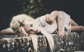 блондинка, девушка, девушки на открытом воздухе, белое платье