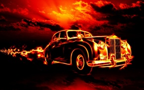 retro, automobile, fire, fantasy, sky