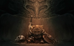 artwork, Geers_Art, video games, The Elder Scrolls V Skyrim, Lirik, cat