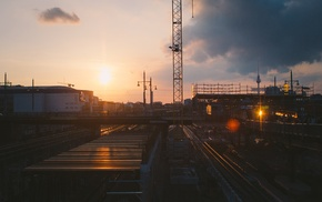 sunset, railway, cityscape, sunlight