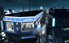 cityscape, city, night, train station, Lawson, painting