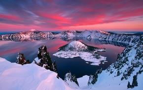горы, снег, озеро, небо