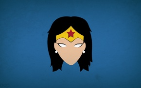 Blo0p, Wonder Woman, DC Comics, blue background, superheroines, minimalism