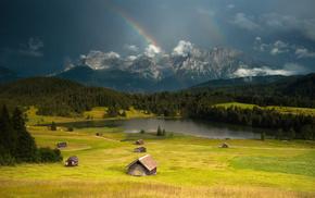 lake, mountain, houses, stunner