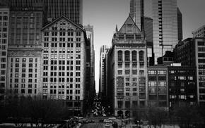 monochrome, building, cityscape, street