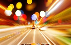 motion blur, cityscape, lights, bokeh