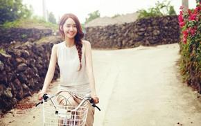 girl, model, bicycle, road