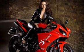 boobs, brunette, motorcycle, red, bike