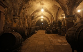 barrels, wine, cellars