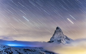 star trails, clouds, Matterhorn, landscape, Switzerland, mountain