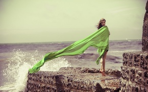 barefoot, girl, waves, cliff, windy, girl outdoors