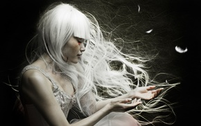 white hair, Asian, girl, bangs, profile, feathers
