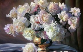 vase, painting, table, stunner, flowers