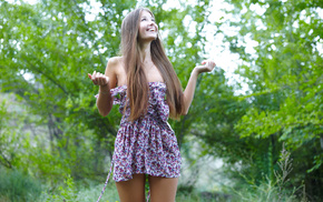 smiling, girl, legs, nature, posing