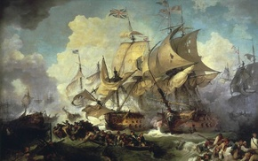 boat, british flag, clouds, painting, naval battles, classic art