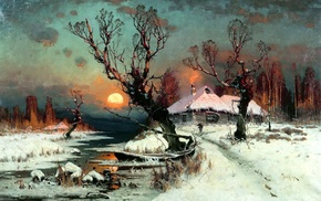 winter, Sun, snow, classic art, cottage, painting