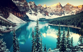 pine trees, water, Moraine Lake, trees, Banff National Park, mountain