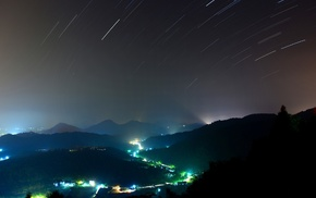 stars, blue, star trails, cityscape, hill, shooting stars