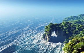 water, cliff, trees, waves, sea, rock