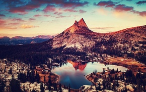 trees, lake, winter, snow, sunset, mountain