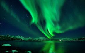 океан, залив, звезды, горы, северное сияние, ночь