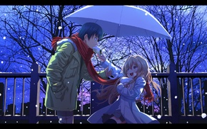 Aisaka Taiga, snow, Takasu Ryuuji, couple, anime, winter