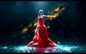 красное платье, красные галаза, произведение искусства