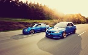 Stance, Subaru, Subaru Impreza, car, blue cars
