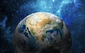 земля, орбита, Северная, космос, континент, Америка