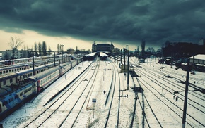city, railway, train station, Istanbul, snow