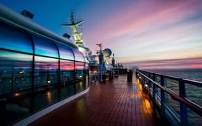отражение, закат, море, лодка